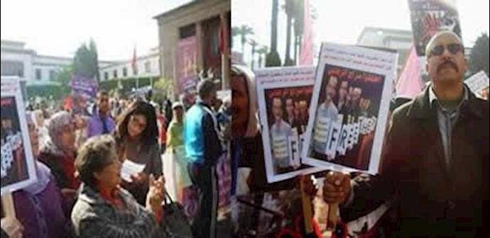 تظاهرات  در رباط پایتخت مراکش در روزجهانی حقوق بشر