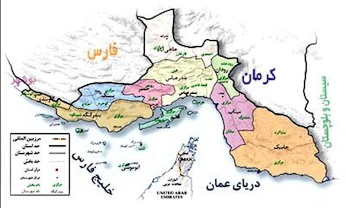 نقشه استان هرمزگان