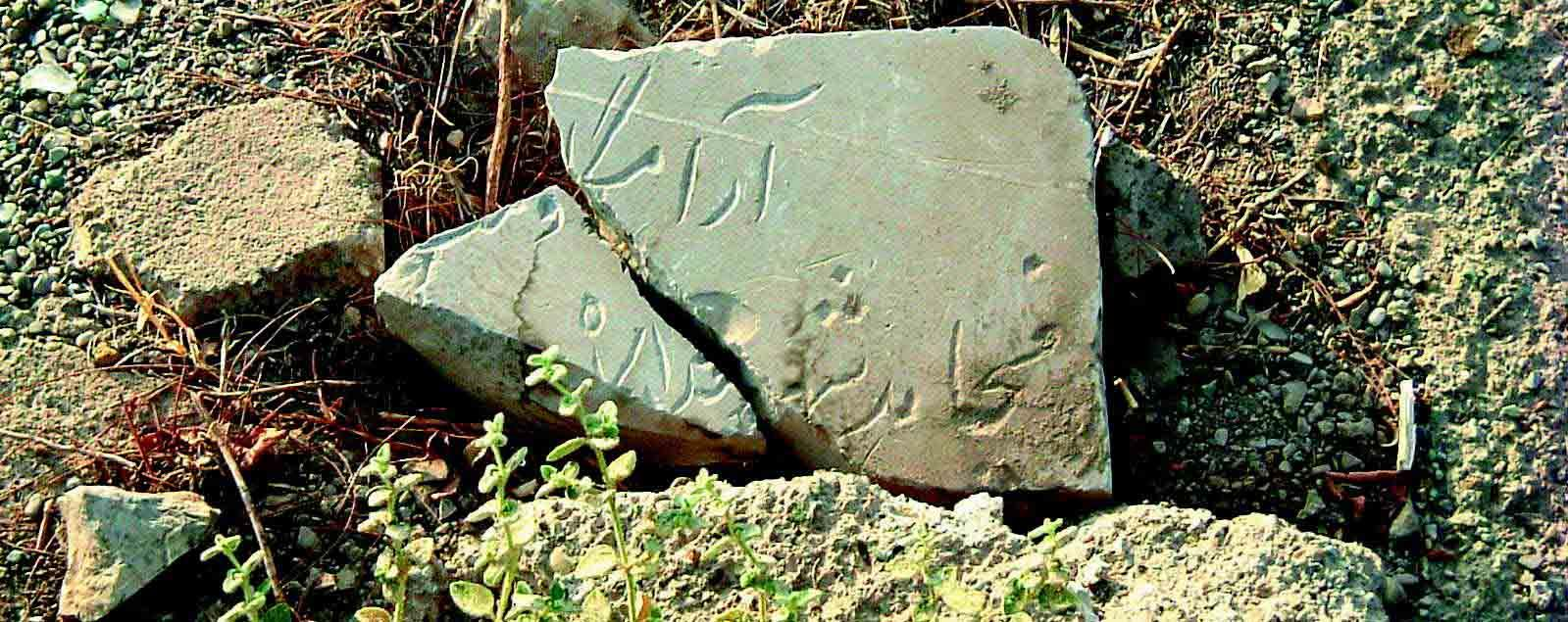 Tombstone of a Mojahedin member desecrated by government agents ‎