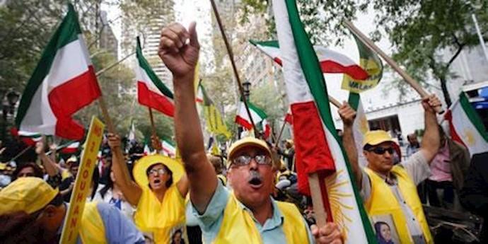 تظاهرات  مقابل مقر سازمان ملل  علیه حضور روحانی
