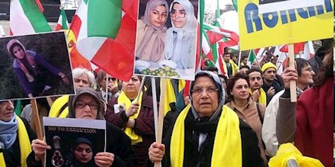 """تظاهرات نه به روحانی در پاریس - قانونگذاران """"استراتژی بحران """"رژیم ایران در خاورمیانه را  محکوم کردند"""