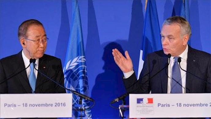 ژان مارک آیرو٬ وزیر امور خارجه فرانسه پس از دیدار با بان کی مون دبیرکل سازمان ملل متحد در یک نشست خبری