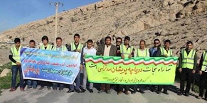 تجمع اعتراضی مردم کازرون نسبت به خشک شدن دریاچه پریشان