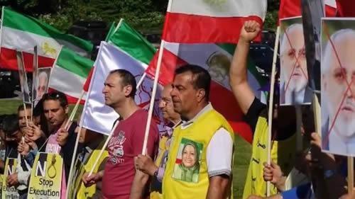 مظاهرات إحتجاجية من مناصري المقاومة والإيرانيين الأحرار ضد حضور وزير خارجية نظام الملالي في النروج