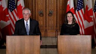 کریستیا فریلند وزیر خارجه کانادا در نشست خبری روز سه شنبه با وزیر خارجه آمریکا