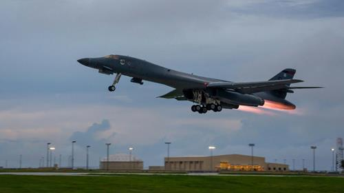 A US Air Force B-1B bomber takes off from Andersen Air Force Base in Guam for the joint mission