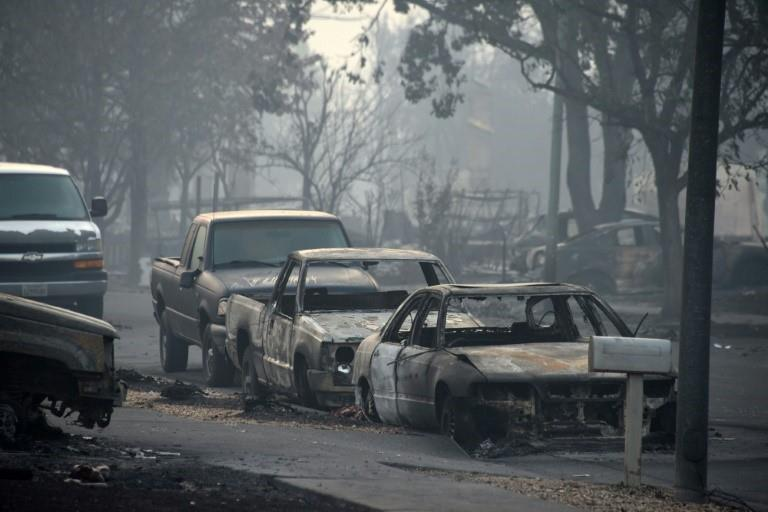 Cars destroyed by wildfires in Santa Rosa, California
