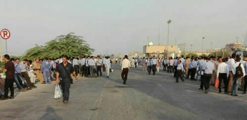تجمع اعتراضی کارگران فازهای ۱۵ و ۱۶پارس جنوبی
