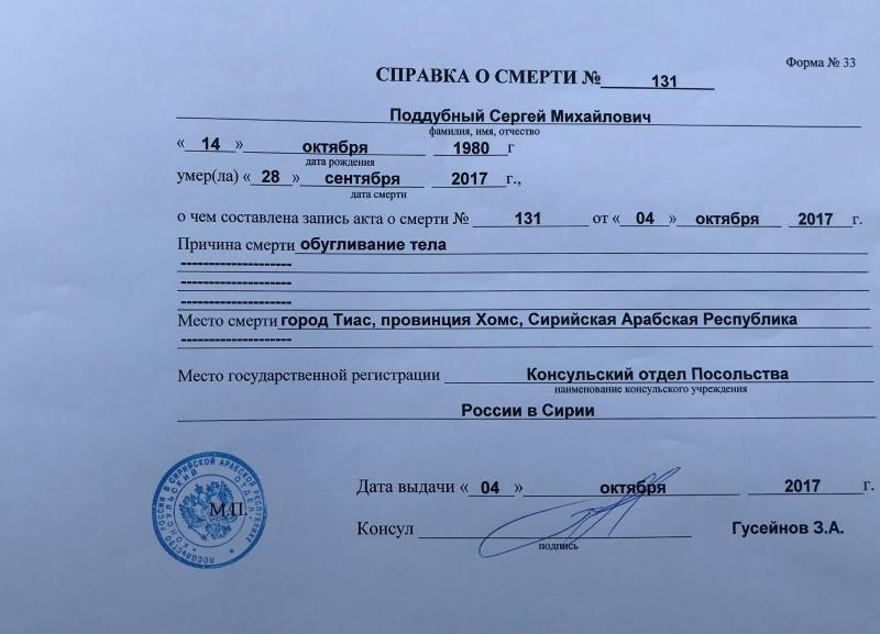 A death certificate of Russian private military contractor Sergei Poddubniy
