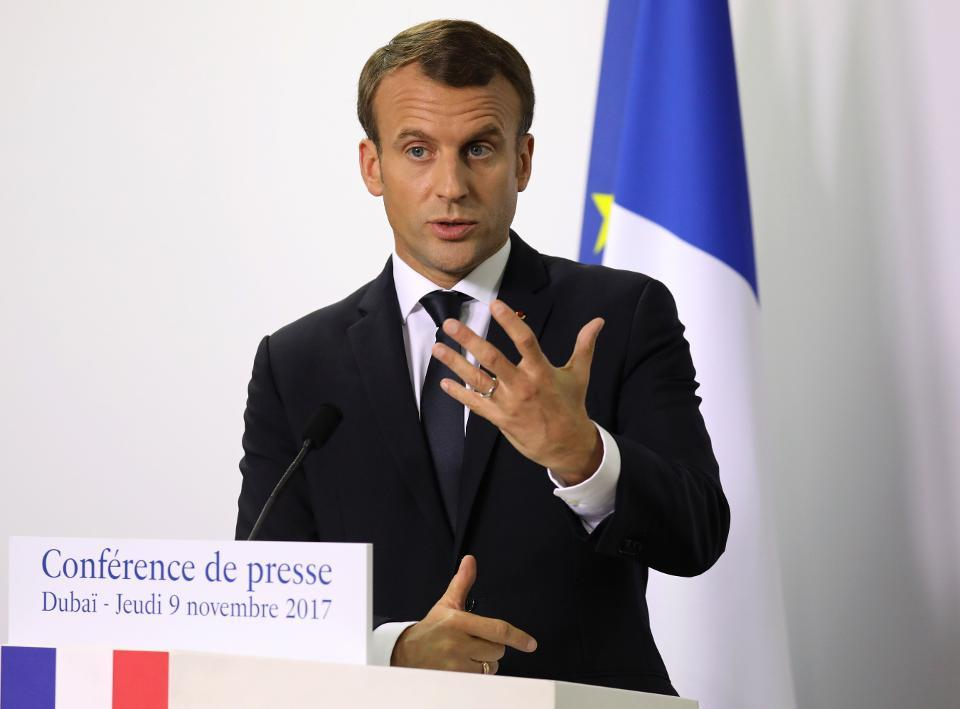 French President Emmanuel Macron gives a press conference in Dubai on November 9, 2017.
