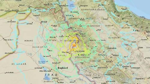 A 7.2-magnitude earthquake in the Middle East jolted the Iraq-Iran border region on Sunday, the Twitter account for U.S. Geological Survey (USGS) earthquake alerts tweeted.