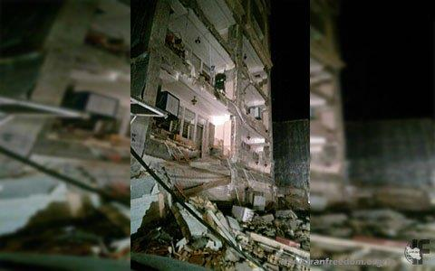 Image after earthquake from collapsed building in West Islamabad, Kermanshah province