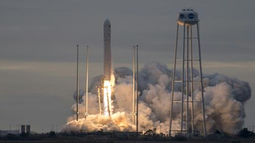 The Orbital ATK Antares rocket, with the Cygnus spacecraft onboard, launches from Pad-0A, on November 12, 2017, at NASAs Wallops Flight Facility in Virginia