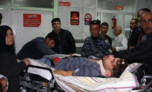 An earthquake victim is aided at Sulaimaniyah Hospital in Iraq