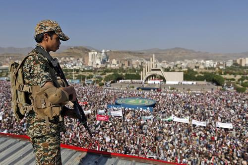 Supporters of Yemen's Iran-backed Houthi rebel movement gather in Sanaa on September 21, 2017.