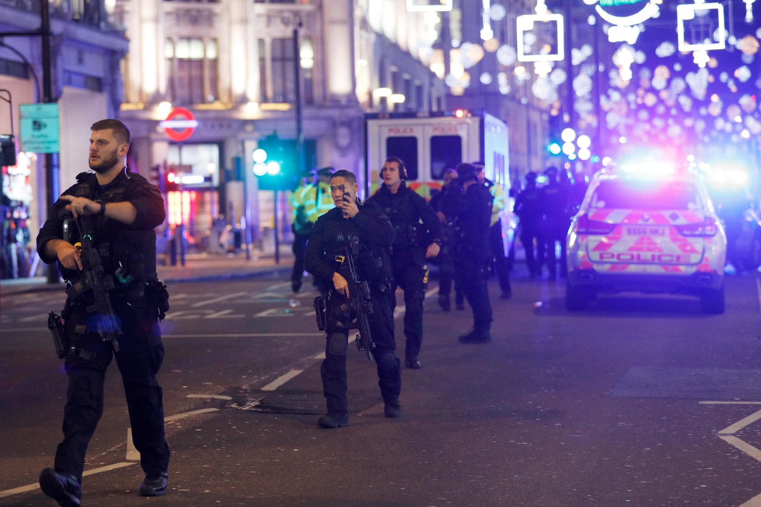 Oxford Circus; Armed police response after 'shots fired' at Tube station and on London's busiest shopping street, London Evening Standard