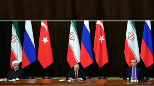 Rouhani, Putin, and Erdogan at a joint press conference in Sochi, November 2017