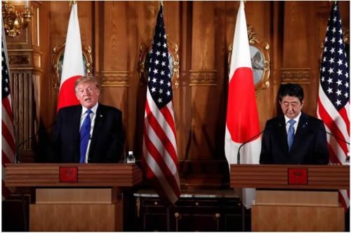 U.S. President Donald Trump speaks during a news conference with Japan's Prime Minister Shinzo Abe at Akasaka Palace in Tokyo, Japan, November 6, 2017.