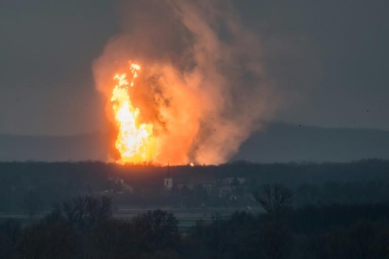 A blaze pictured at Austria's main gas pipeline hub at Baumgarten, eastern Vienna, after explosion rocked the site on December 12, 2017