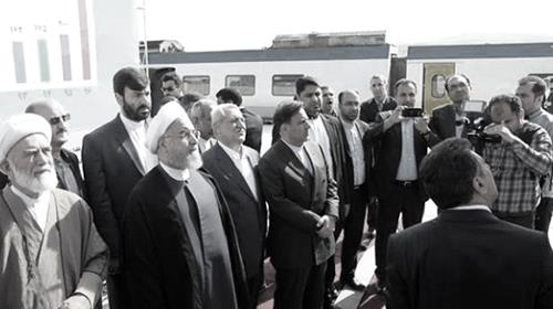 Irans President Hassan Rouhani during the inauguration of a crucial rail link between Tehran and Hamedan.