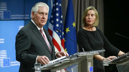 Rex Tillerson and Federica Mogherini in Brussels on Tuesday