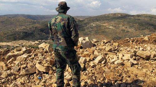 A Hezbollah fighter looks toward Syria from the fields of the Lebanese border village of Brital.