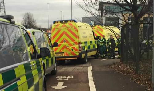 Ambulance crews were also deployed to the business area