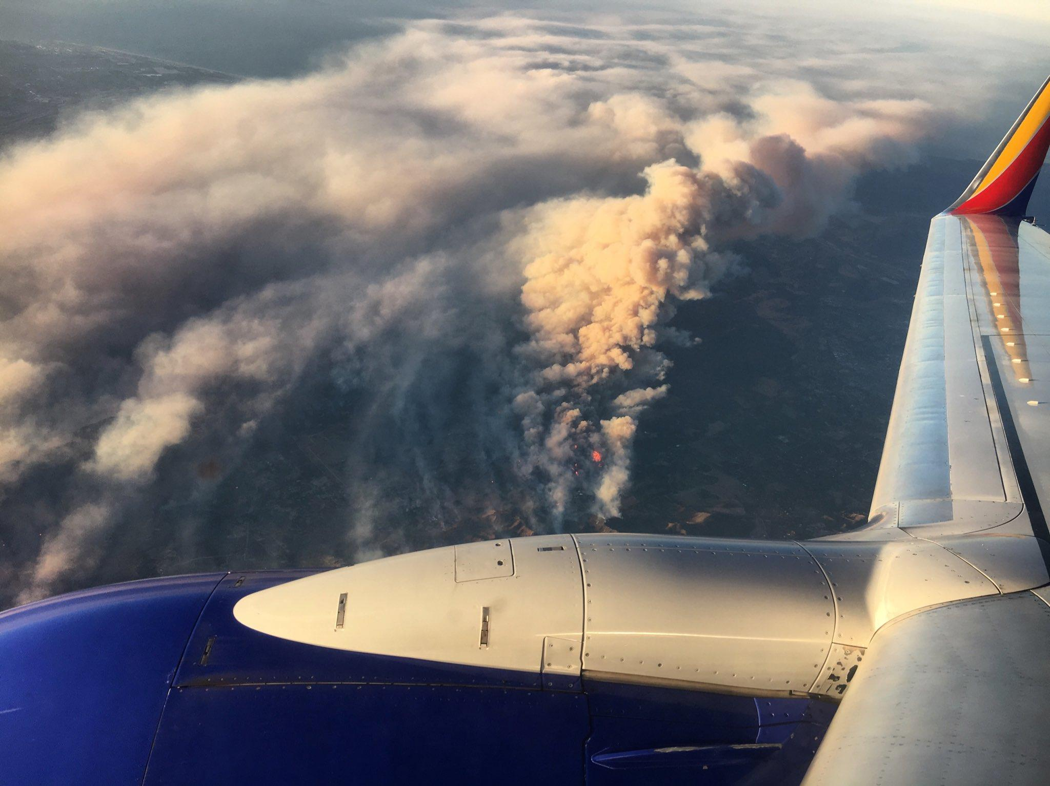 Thomas Fire as seen from my South west Air flight this morning. Ventura Fire California Wild fires