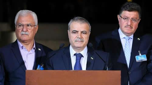 Syrian opposition delegation at press conference