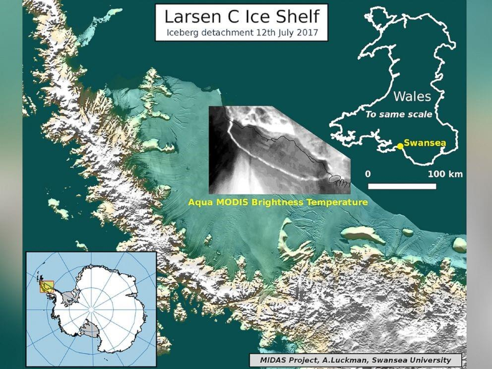 An illustration depicting an iceberg detachment from the Larsen C Ice Shelf in Antarctica, July 12, 2017.
