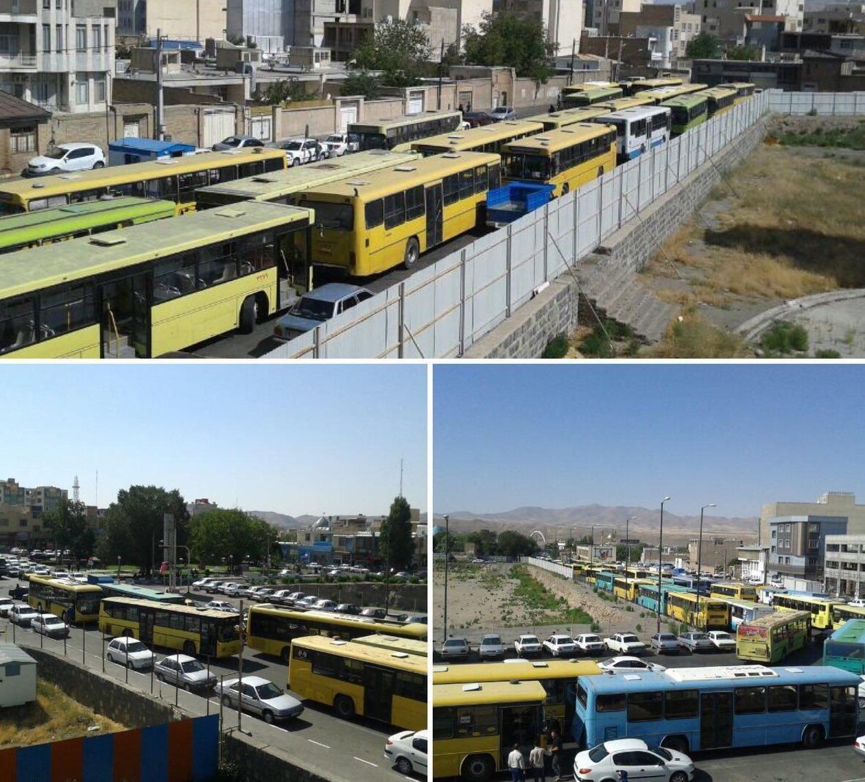 Zanjan city bus drivers on strike