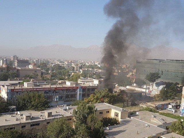 Smokes rising after an explosion at Zawul Institute of Higher Education in Kabul, Afghanistan