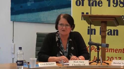 پروفسور سارا چندلر، کنفرانس «اقدامات بینالمللی برای اجرای عدالت در مورد قتلعام زندانیان سیاسی سال ۶۷»
