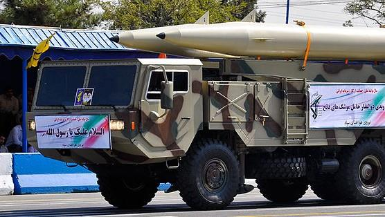 A Fateh-110 ballistic missile, precursor of the Zolfaghar, taken at an Iranian armed forces