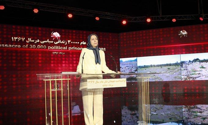 Maryam Rajavi speaks at the ceremony marking the 29th anniversary of the 1988 massacre of 30,000 political prisoners in Iran