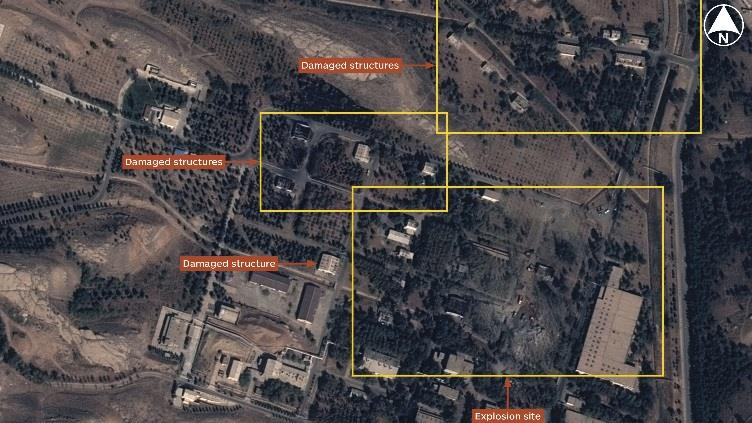 Airbus Defence and Space imagery shows the site of an explosion at the Parchin military complex near Tehran