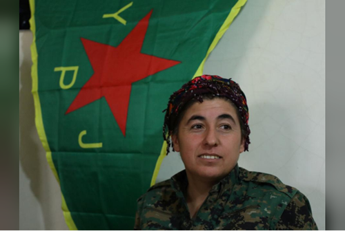 Nowruz Ahmed, General Commander of the Women's Protection Unit (YPJ) militia, the Kurdish People's protection unit (YPG)'s all-female brigade