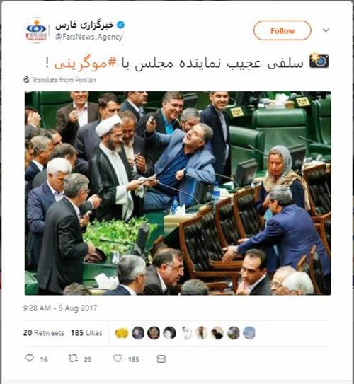 Mogherini was bombarded with MP members who asked to take selfies with her.
