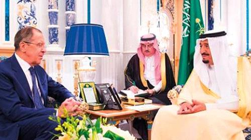 Saudi King Salman with Russian Foreign Minister Sergei Lavrov at Al Salam Palace