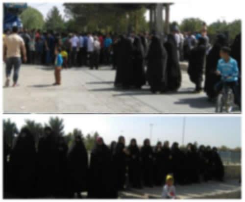تجمع اعتراضی اهالی محله فردوسی مشهد مقابل پاسگاه