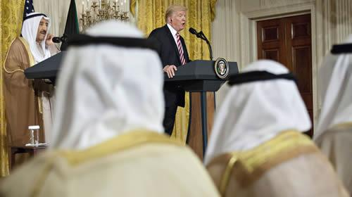 Donald Trump speaks during a meeting with Amir of Kuwait
