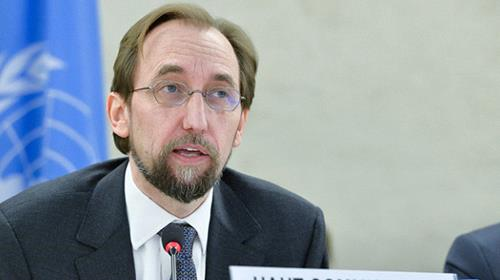 Zeid Raad Al Hussein, UN High Commissioner for Human Rights, left,