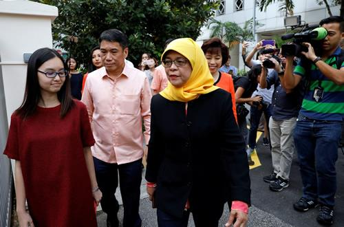Halimah arrives at the Elections Department in Singapore on September 11, 2017.