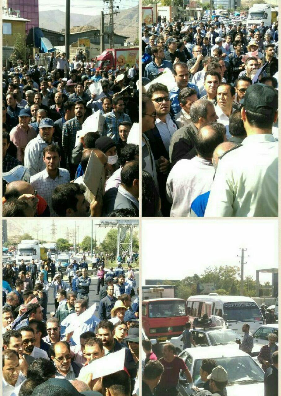 بستن ورودی شهر اراک توسط کارگران آذرآب