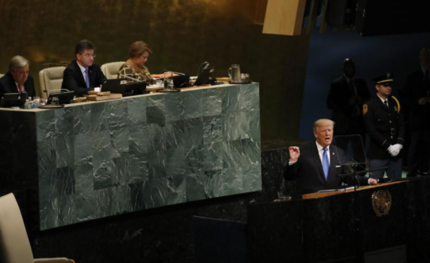 U.S. President Donald Trump addresses the 72nd United Nations General Assembly at U.N. headquarters in New York, U.S., September 19, 2017.
