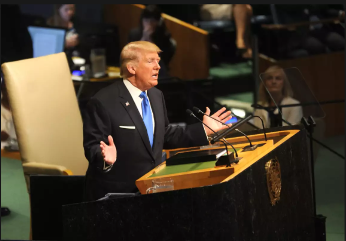 President Donald Trump speaks at the United Nations General Assembly on Sept. 19, 2017.
