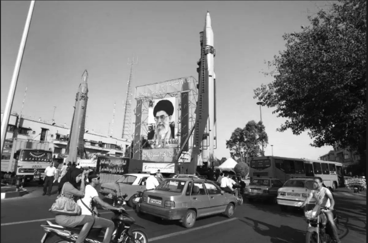 A display of IRGC missiles, including a Sejjil at left, during Sacred Defense Week in 2011.
