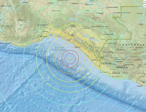 The earthquake hit off the Pacific coast of Mexico