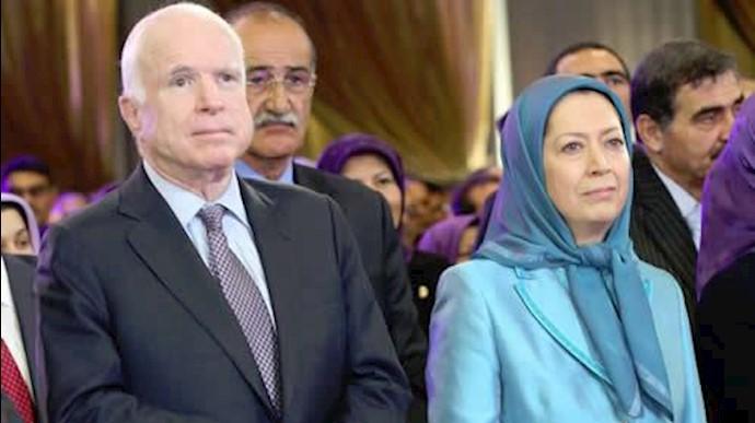 مریم رجوی و سناتور جان مک کین در دیدار با مجاهدان اشرفی
