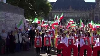 تطاهرات اشرف نشانها مقابل دادگاه بین المللی لاهه